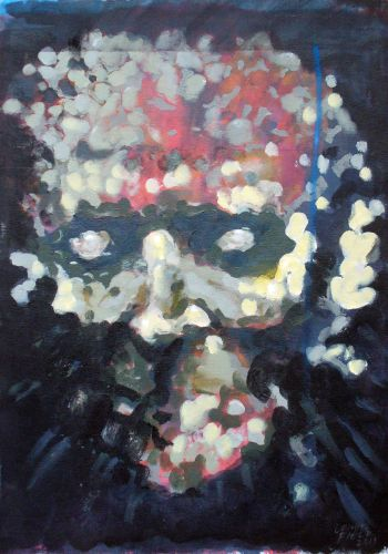 Alban Berg, Tragic Mask. Acrylic.