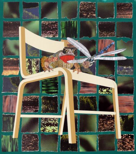 Ikea Chair with frog and Dragonfly. 60x50cm. 2015. Collage & Acrylic.