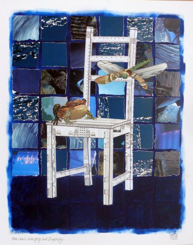 Ikea Chair With Frog & Dragonfly#2 Collage acrylic 70x55 cm.